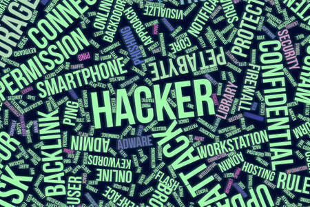 Hacker, IT, information technology conceptual word cloud for for design wallpaper, texture or background