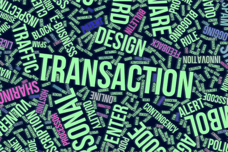 Transaction, IT, information technology conceptual word cloud for for design wallpaper, texture or background
