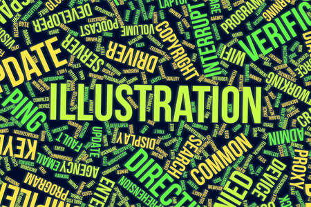 Illustration, IT, information technology conceptual word cloud for for design wallpaper, texture or background