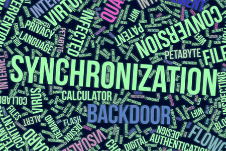 Synchronization, IT, information technology conceptual word cloud for for design wallpaper, texture or background Фото со стока