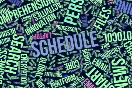 Schedule, IT, information technology conceptual word cloud for for design wallpaper, texture or background Stock Photo
