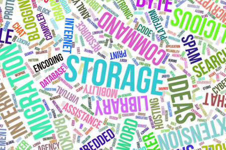 Storage, IT, information technology conceptual word cloud for for design wallpaper, texture or background Archivio Fotografico