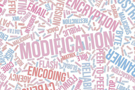 Modification, IT, information technology conceptual word cloud for for design wallpaper, texture or background Stock Photo