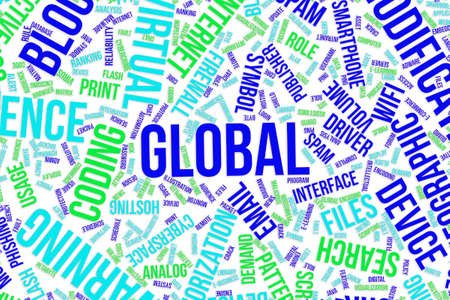 Global, IT, information technology conceptual word cloud for for design wallpaper, texture or background