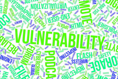 Vulnerability, IT, information technology conceptual word cloud for for design wallpaper, texture or background
