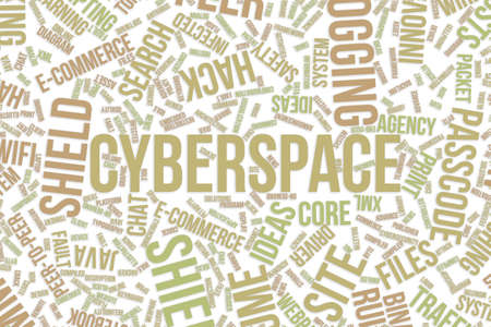 Cyberspace, IT, information technology conceptual word cloud for for design wallpaper, texture or background Stock Photo