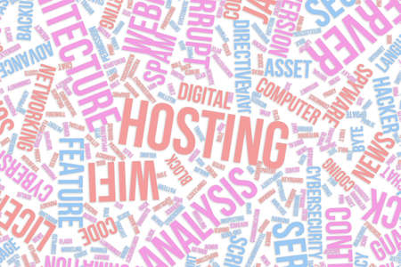 Hosting, IT, information technology conceptual word cloud for for design wallpaper, texture or background