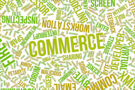 Commerce, IT, information technology conceptual word cloud for for design wallpaper, texture or background Foto de archivo