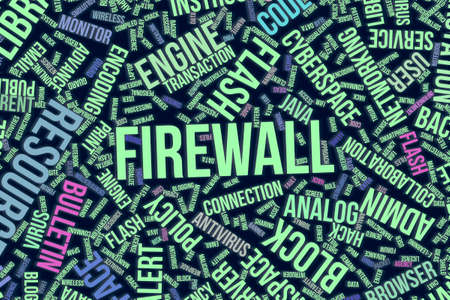 Firewall, IT, information technology conceptual word cloud for for design wallpaper, texture or background Stock Photo