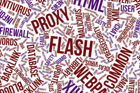 Flash, IT, information technology conceptual word cloud for for design wallpaper, texture or background Stock Photo