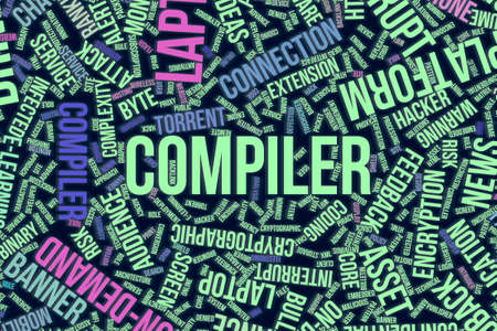 Compiler, IT, information technology conceptual word cloud for for design wallpaper, texture or background Stock Photo