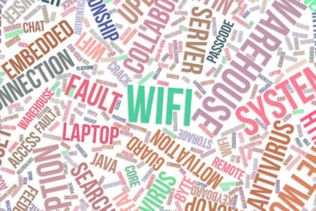 Wifi, IT, information technology conceptual word cloud for for design wallpaper, texture or background