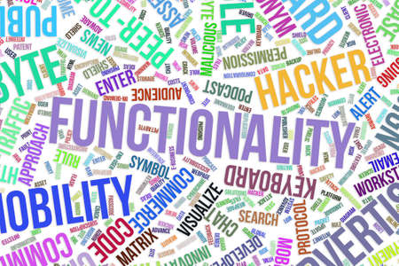 Functionality, IT, information technology conceptual word cloud for for design wallpaper, texture or background Stock Photo