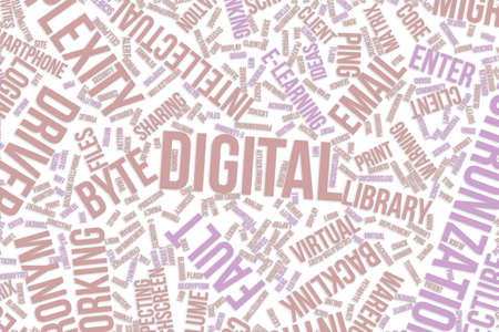 Digital, IT, information technology conceptual word cloud for for design wallpaper, texture or background