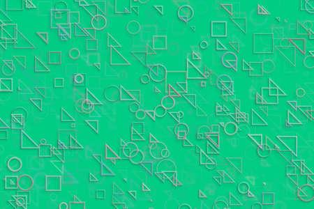 Random circle, square, rectangle & triangle shape, digital generative art for design texture & background