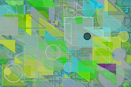 Abstract embossed & random circle, square, rectangle & triangle shape, digital generative art for design texture & background Stock fotó