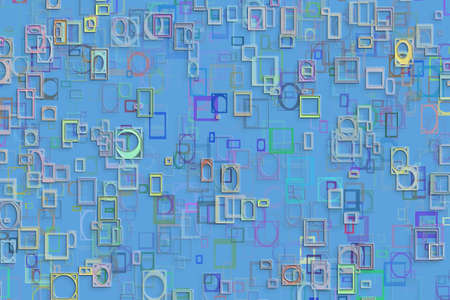 Abstract embossed & random square & rectangle shape, digital generative art for design texture & background
