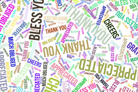 Thank You, word cloud for web page, graphic design, catalog, wallpaper or background. Фото со стока - 97863871