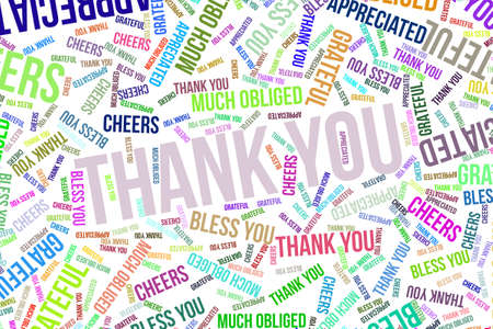 Thank You, word cloud for web page, graphic design, catalog, wallpaper or background. Banco de Imagens