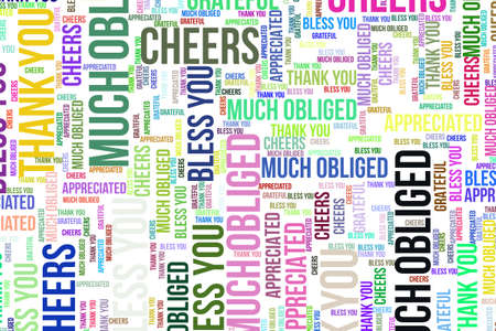 Thank You, word cloud for web page, graphic design, catalog, wallpaper or background. Фото со стока - 97864181