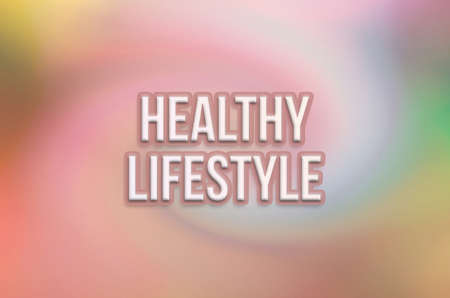 Healthy lifestyle conceptual words, with twirl & colorful as background for web page, graphic design, catalog or wallpaper. Banco de Imagens