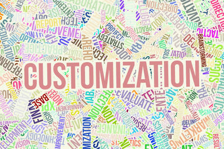 Customization, business word cloud, for design wallpaper, texture or background.