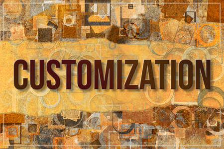 Customization, business & finance conceptual words, with texture background for web page, graphic design, catalog or wallpaper. Stock Photo