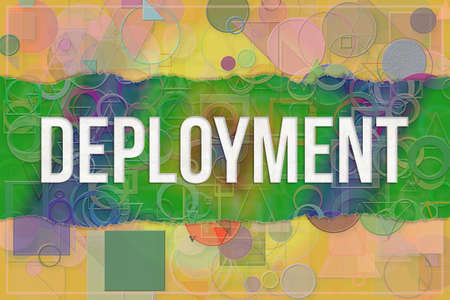 Deployment, information technology conceptual words with colorful shapes pattern as background for web page, graphic design, catalog or wallpaper.