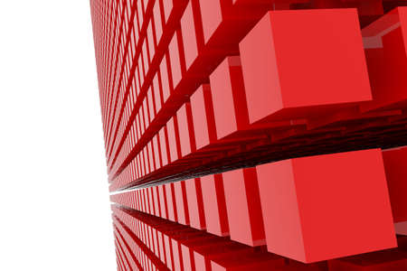 Perspective view of red color grossy cubes or boxes. Good for title, graphic design, catalog, textile, texture background or backdrop. 3D rendered image. Stockfoto