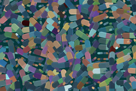 capsules, medicine or pills illustrations background abstract, hand drawn. Pharmacy health conceptual. Vector graphic.