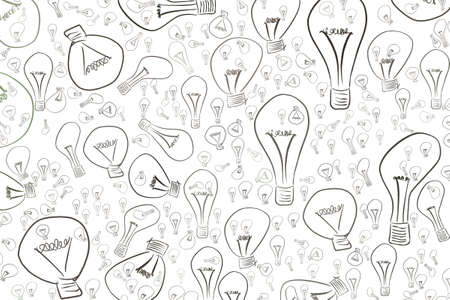 Illustrations of light bulbs. Good for web page, wallpaper, graphic design, catalog, texture or background. Idea conceptual. Vector graphic.