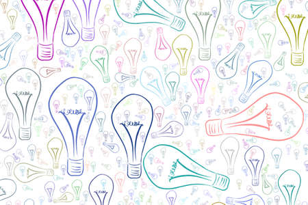 Decorative hand drawn light bulbs illustrations. Good for design texture & background. Idea conceptual. Vector graphic.