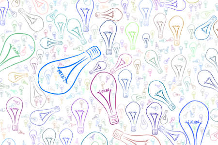 Abstract light bulbs illustrations background pattern. Idea conceptual. Vector graphic.