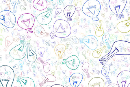 light bulbs illustrations background abstract, hand drawn. Idea conceptual. Vector graphic. Illustration