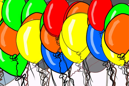 Abstract illustrations of flying balloons, conceptual. Good for design background. Cartoon style vector graphic.