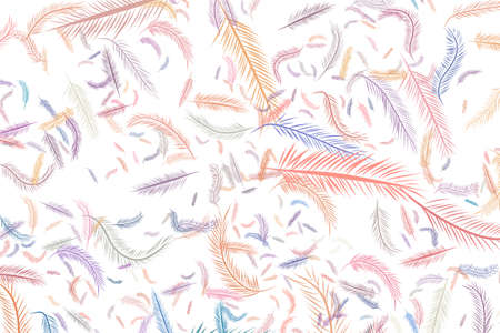 Abstract illustrations of feather, conceptual. Good for design background. Cartoon style vector graphic.