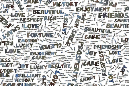 Abstract positive emotion word cloud illustrations background. Vector graphic.