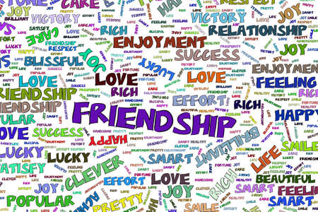 Friendship, abstract positive emotion word cloud illustrations background. Vector graphic.