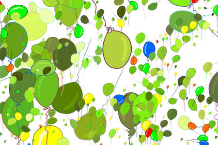 Abstract flying balloons illustrations background. Cartoon style vector graphic.