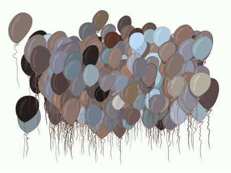 Flying balloons illustrations background abstract, hand drawn. Cartoon style vector graphic.
