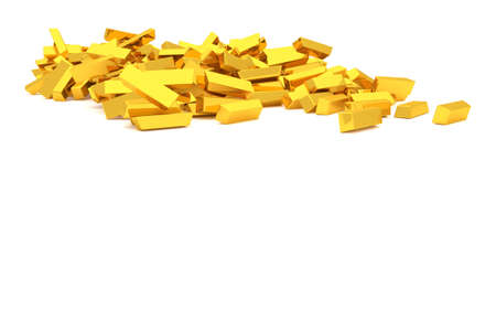 Bunch or pile of gold bars or brick, modern style background or texture. Good for business conceptual backdrop represent fortune, luck, treasure or rich. 3D rendered image.
