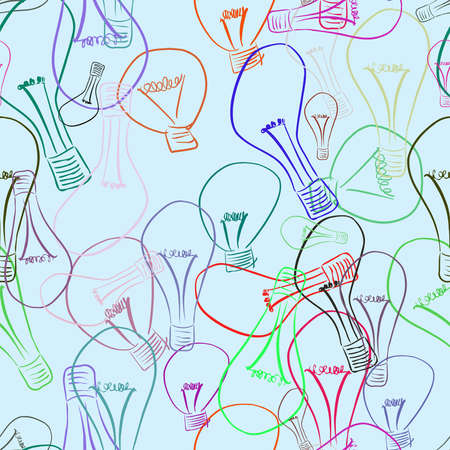 Seamless light bulb illustrations background abstract, hand drawn. Cartoon style vector graphic. Illustration