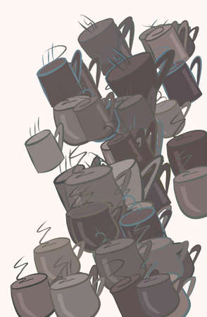 Abstract coffee cup illustrations background. Cartoon style vector graphic.