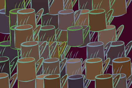 Illustrations of coffee cup. Good for web page, wallpaper, graphic design, catalog, texture or background. Cartoon style vector graphic.