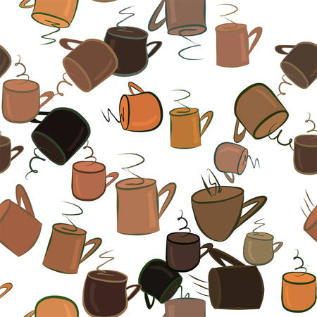 Seamless abstract coffee cup illustrations background. Cartoon style vector graphic.
