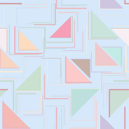 Seamless color abstract triangle lines geometric pattern generative art background. Vector illustration graphic.