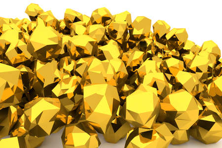 Bunch or pile of gold, modern style background isolated on white. Good for business conceptual backdrop represent fortune, luck, treasure or rich. 3D rendered image. Stock Photo
