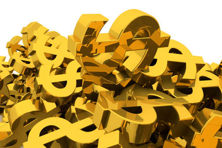 Bunch or pile of illustrative gold dollar sign, background isolated on white. Good for business conceptual backdrop represent fortune, luck, treasure or rich. 3D rendered image.