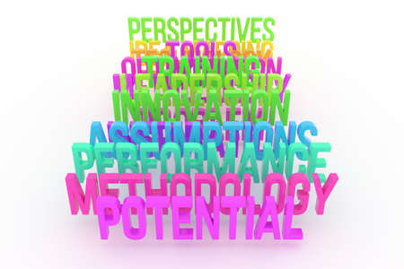 Potential, performance & methodology, business conceptual colorful 3D words. background abstract cgi typography, good for design.