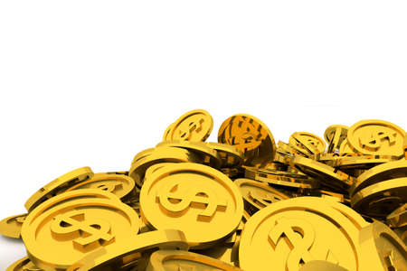 Bunch or pile of illustrative gold coin, background isolated on white. Good for business conceptual backdrop represent fortune, luck, treasure or rich. 3D rendered image.